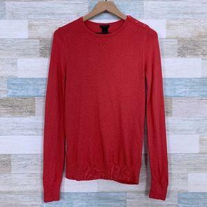 Scoop Neck Sweater Orange Cotton Blend Ann Taylor